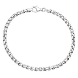 3.5mm Solid .925 Sterling Silver Square Box Chain Bracelet