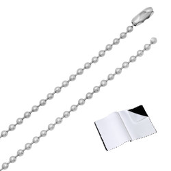 Durable Stainless Steel 2.4mm Military Style Ball Chain Necklace + Microfiber
