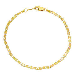 2.6mm 0.25 mils (6 microns) 14k Yellow Gold Plated Mariner Chain Necklace, 7'-30 + Jewelry Cloth & Pouch