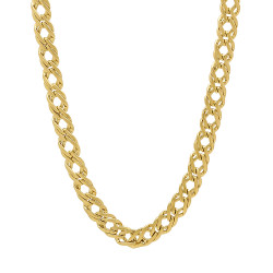 5mm 14k Yellow Gold Plated Cable Venetian Chain Necklace