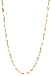 2mm 24k Yellow Gold Plated Flat Figaro Chain Necklace