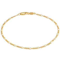 2mm High-Polished 0.25 mils (6 microns) 24k Yellow Gold Plated Flat Figaro Chain Necklace, 7'-30 + Jewelry Cloth & Pouch
