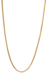 2mm High-Polished 0.25 mils (6 microns) 14k Yellow Gold Plated Square Box Chain Necklace, 7'-30 + Jewelry Cloth & Pouch