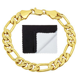 9mm Diamond-Cut 0.25 mils (6 microns) 14k Yellow Gold Plated Flat Figaro Chain Bracelet, 7'-9 + Jewelry Cloth & Pouch