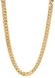 7.1mm 0.25 mils (6 microns) 14k Yellow Gold Plated Cuban Link Curb Chain Necklace, 7'-30 + Jewelry Cloth & Pouch