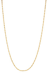 Women's 1.5mm 0.25 mils (6 microns) 24k Yellow Gold Plated Singapore Chain Necklace, 7'-30 + Jewelry Cloth & Pouch