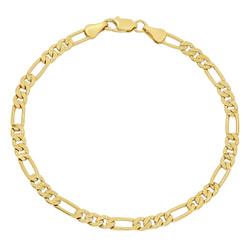 4mm Diamond-Cut 0.25 mils (6 microns) 14k Yellow Gold Plated Flat Figaro Chain Bracelet, 7'-9 + Jewelry Cloth & Pouch