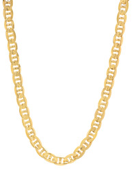 7mm 14k Yellow Gold Plated Flat Mariner Chain Necklace