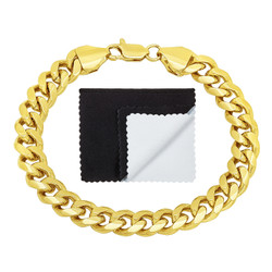 Men's 9.2mm 0.25 mils (6 microns) 14k Yellow Gold Plated Beveled Curb Chain Bracelet, 8'9 + Jewelry Box, Cloth, & Bag