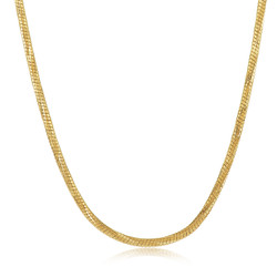 1.5mm Diamond-Cut 0.25 mils 14k Yellow Gold Plated Round Snake Chain Necklace, 8 inches + Jewelry Cloth/Box/Bag