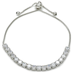 4mm Polished 0.25 mils (6 microns) Rhodium Plated Brass Clear CZ Square Bolo Bracelet, 10 inches + Jewelry Cloth & Pouch