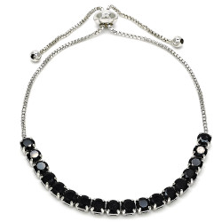 4mm Polished 0.25 mils (6 microns) Rhodium Plated Brass Black CZ Square Bolo Bracelet, 10 inches + Jewelry Cloth & Pouch