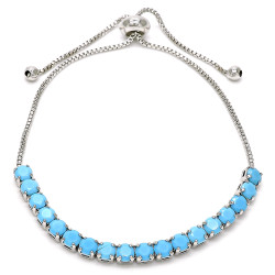 4mm Polished Rhodium Plated Brass Turquoise CZ Square Bolo Bracelet, 10 inches + Jewelry Cloth & Pouch