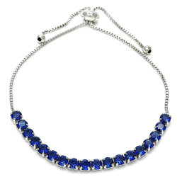 4mm Polished 0.25 mils (6 microns) Rhodium Plated Brass Blue CZ Square Bolo Bracelet, 10 inches + Jewelry Cloth & Pouch