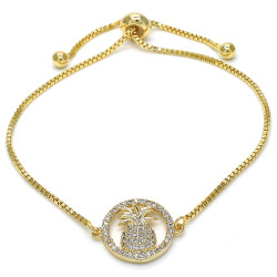 14.9mm Polished 0.25 mils 14k Yellow Gold Plated Clear CZ Square Bolo Bracelet, 10 inches + Jewelry Cloth & Pouch