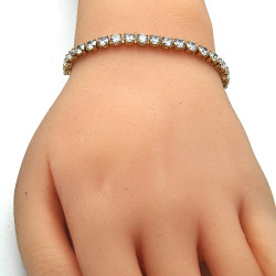 4mm Polished 0.25 mils 14k Yellow Gold Plated Clear CZ Square Bolo Bracelet, 10 inches + Jewelry Cloth & Pouch