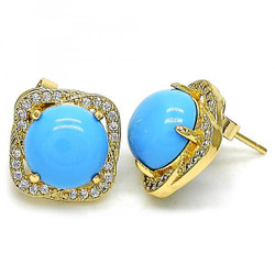 12.5mm 14k Yellow Gold Plated Blue Opal Square Stud Earrings, 12.5mm
