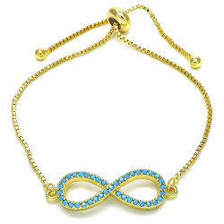 10.3mm Polished 14k Yellow Gold Plated Turquoise Cubic Zirconia Bolo Bracelet, 10 inches