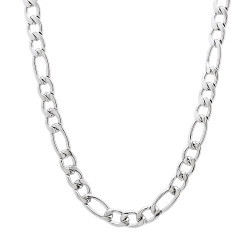4.5mm High-Polished Stainless Steel Flat Figaro Chain Necklace