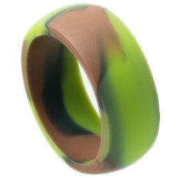 9mm Wide Silicone GreenGreenGreen Band Ring, Size 7,8,9,10,11,12,13,14 (US) + Jewelry Cloth & Pouch