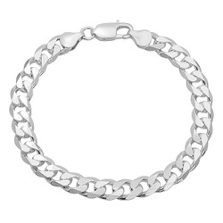 8.5mm .925 Sterling Silver Beveled Curb Beveled Curb Chain Link Bracelet, 7'-10 + Jewelry Cloth & Pouch