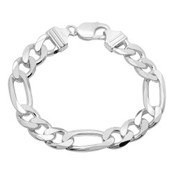 Men's 11mm High-Polished .925 Sterling Silver Flat Figaro Chain Bracelet, 8'-10 + Jewelry Cloth & Pouch