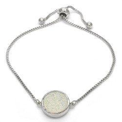 14.6mm Polished 0.25 mils (6 microns) Rhodium Plated Brass Square Bolo Bracelet, 10 inches + Jewelry Cloth & Pouch