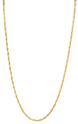 2mm Polished 24k Yellow Gold Plated Braided Wheat Chain Necklace