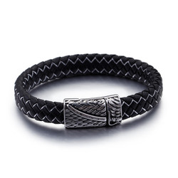 Black Leather Stainless Steel Sword Magnetic Cuff Bracelet + Polishing Cloth