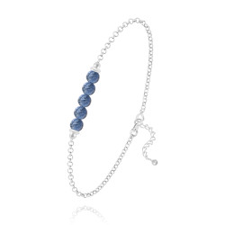 4.4mm High-Polished .925 Sterling Silver Blue Sodalite Round Rolo Chain Bracelet, 7.5 inches + Jewelry Cloth & Pouch