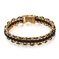 Men's 14mm Gold Plated Stainless Steel Rolo Chain Bracelet, 7'-11 + Jewelry Cloth & Pouch