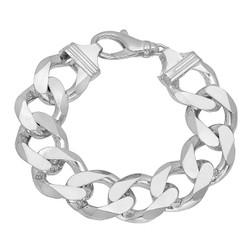 Men's 15.8mm Solid .925 Sterling Silver Beveled Curb Chain Bracelet
