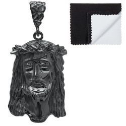 Black Plated Jesus Piece Pendant, 49mm x 27mm (⅞ inches' x ')
