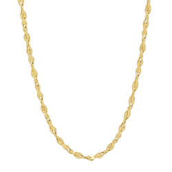 2.7mm Polished 24k Yellow Gold Plated Twisted Singapore Chain Necklace + Gift Box