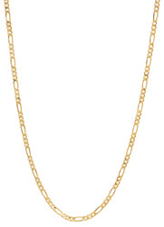 2.4mm 24k Yellow Gold Plated Flat Figaro Chain Necklace + Gift Box