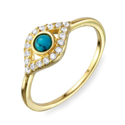 0.16 mils (4 microns) Gold Plated Silver Blue Turquoise Evil Eye Ring, Size 5,6,7,8,9 (US) + Jewelry Cloth & Pouch