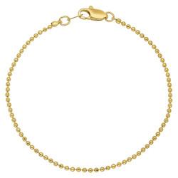 1mm 14k Yellow Gold Plated Ball Military Ball Chain Bracelet
