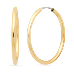 High-Polished 0.25 mils 14k Gold Plated Round Hoop Earrings + Jewelry Cloth & Pouch