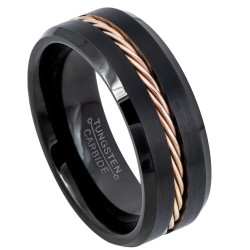 Polished 0.16 mils (4 microns) Black Ion Tungsten Band Ring, Size 10