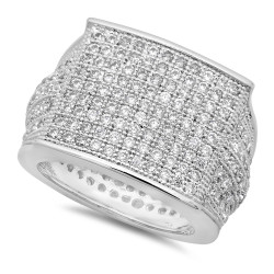 Rhodium Plated Micro-Pave Iced Out Cubic Zirconia Square Top Ring + Microfiber