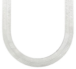 Men's 14.5mm High-Polished .925 Sterling Silver Flat Herringbone Chain Necklace, 22'-30 + Jewelry Cloth & Pouch