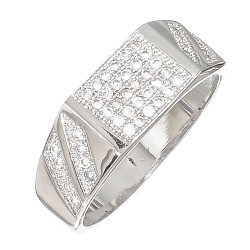Size 12 Men's Rhodium Plated Ring Iced Out with Micro Pave Cubic Zirconia CZ Stones + Bonus Polishing Cloth