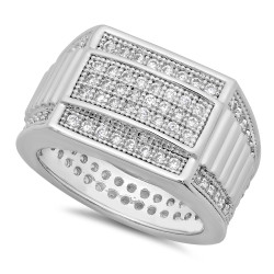 Rhodium Plated Micro-Pave Iced Out Cubic Zirconia Band Ring + Microfiber