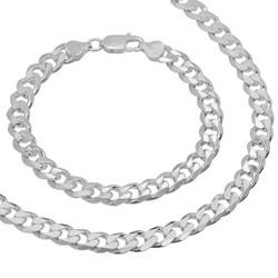 8.5mm Solid .925 Sterling Silver Flat Cuban Link Curb Chain Necklace + Bracelet Set