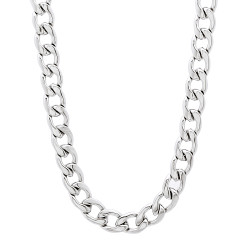 5mm High-Polished Stainless Steel Flat Cuban Link Curb Chain Necklace