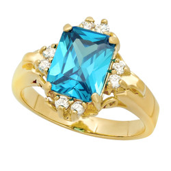 Gold Plated Blue Emerald-Cut CZ Solitaire Ring w/CZ Accents + Microfiber