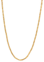 2.3mm 14k Yellow Gold Plated Square Twisted Box Chain Necklace