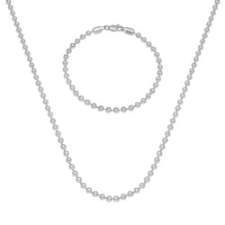 4mm High-Polished .925 Sterling Silver Round Ball Chain Necklace + Bracelet Set, 16 + Jewelry Cloth & Pouch