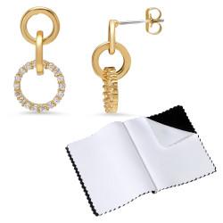 14k Gold Plated Hoop Drop Cubic Zirconia Push Back Stud Earrings