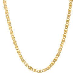 2.6mm 24k Yellow Gold Plated Flat Mariner Chain Necklace + Gift Box